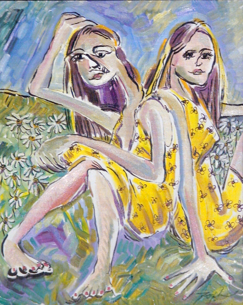 Twins in Yellow Dresses