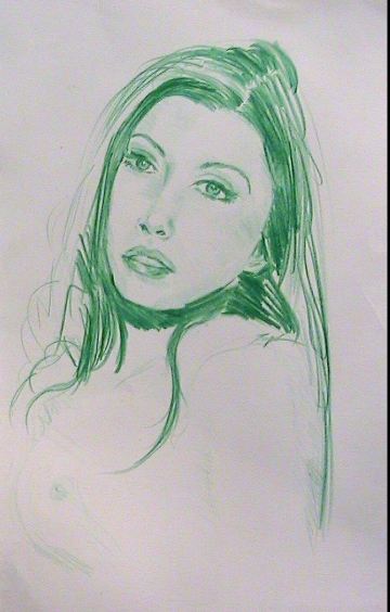 Green Sketch of Woman