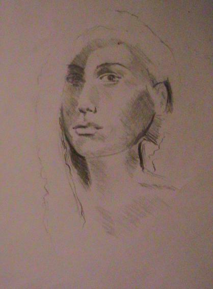 Sketch of innocent girl
