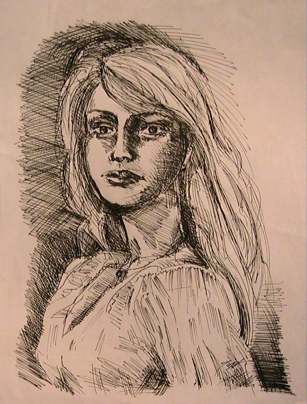 Ink Drawing of Gretchen