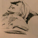 Ink Drawing of Man Resting