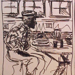 Inking of Man Eating Soup