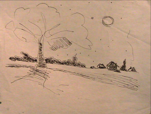 Ink of Tree in Small Village