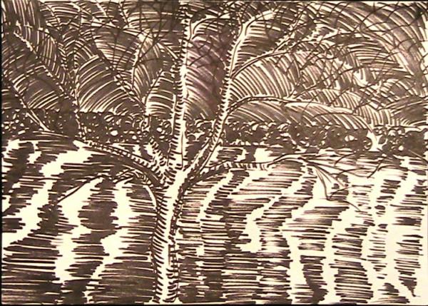 Ink of Tree Near Water