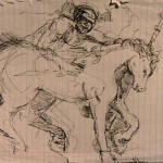 Ink Study of Man on Horse