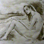 Pencil of Nude Near Stream