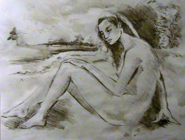 Pencil of Nude Near Stream