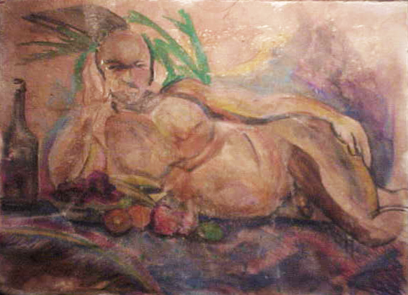 Resting Nude Man With Fruit